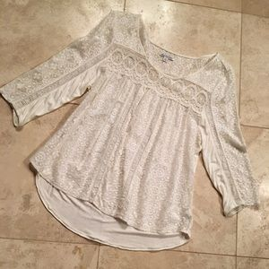 Knit and lace cream top